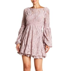Free People Rubi Lace Dress in mauve NEW boho